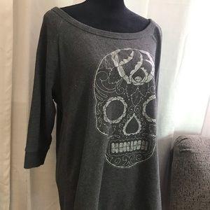 Scoop neck skull sweater